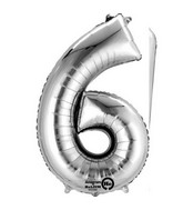 "40"" Shape 9 Or 6 Silver Balloon"