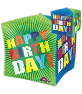"15"" Jumbo Happy Birthday Bursts Balloon Packaged"