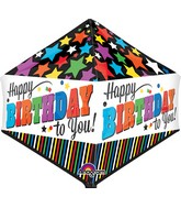 "21"" Jumbo Happy Birthday Stripes and Stars Balloon Packaged"