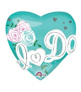 "28"" Jumbo I Do Heart Tiffany Blue Balloon Packaged"