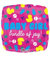 "21"" Junior Shape Baby Girl Icons Balloon Packaged"