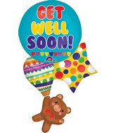 "24"" Jumbo Get Well Bear and Balloons Balloon"