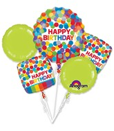 Bouquet Primary Rainbow Birthday Balloon Packaged