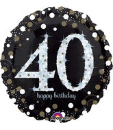 "28"" Jumbo Sparkling Birthday 40 Balloon"