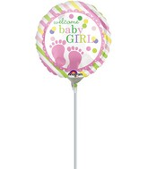 "9"" Airfill Only Baby Feet Girl Balloon"