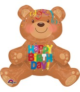 "17"" Airfill Only Happy Birthday Bear Balloon Packaged"