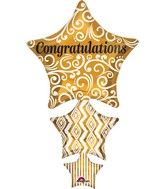 "25"" Jumbo Congratulations Stacked Star Balloon"