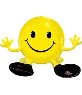"19"" Airfill Only Happy Face Yellow Balloon Packaged"