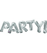 "33"" Jumbo Phrase "" PARTY"" Silver Balloon Packaged"