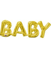 "26"" X 9"" Jumbo Phrase ""BABY"" Gold Balloon Packaged"