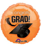 "18"" Congrats Grad Balloon Orange"