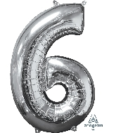 "26"" Number ""6"" Silver Mid-Size Shape Foil Balloon"
