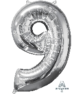 "26"" Number ""9"" Silver Mid-Size Shape Foil Balloon"