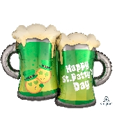 "32"" St. Patty&#39s Emoticon Mugs Balloon"