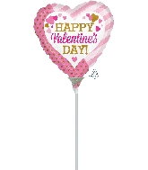 "9"" Airfill Only Happy Valentine's Day Pink & Gold Balloon"