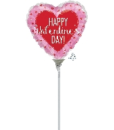 "4"" Airfill Only Happy Valentine's Day Glitter Hearts Balloon"