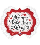 "30"" Happy Valentine&#39s Day Marquee Heart Ruffle Balloon"