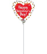 "4"" Airfill Only Happy Valentine's Day Gold & Silver Dots"