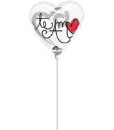 "9"" Airfill Only Te Amo Red Heart Balloon"
