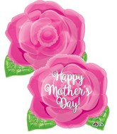"18"" Junior Shape Happy Mother's Day Pink Rose Balloon"