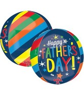 "16"" Orbz Happy Father&#39s Day Bright Stripes Balloon"