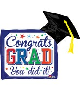 "30"" Jumbo Diploma & Hat Balloon"