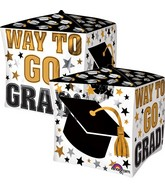 "15"" Jumbo Cubez Way to Go Grad Gold & Black Balloon"