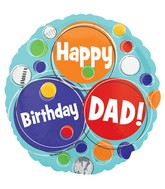 "18"" Dad Happy Happy Birthday Dots Balloon"