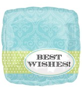 "18"" Damask Band Best Wishes Blue"
