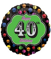 "18"" Happy Birthday Bright Dot 40 Marquee Balloon"