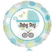 "18"" Baby Boy Buggy Mylar Balloon"