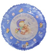"18"" A New Baby Boy Congratulations Pale Blue Border"