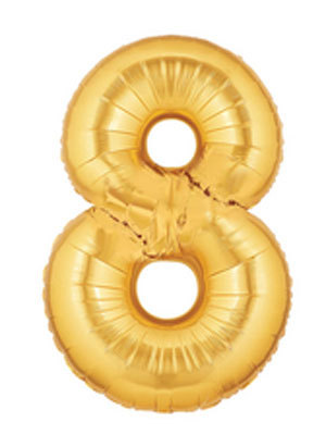 "40"" Large Number Balloon 8 Gold"