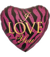 "18"" I Love You Zebra Heart"