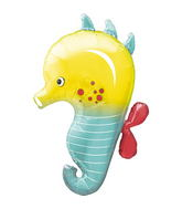 "14"" Seahorse Airfill Balloon Includes Cup and Stick."