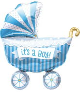 "14"" It&#39s A Boy Buggy Airfill Balloon Includes Cup and Stick."