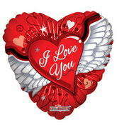 "18"" I Love You Balloon Heart With Wings"