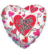 "9"" I Love You Balloon Connected Hearts Clear View"