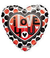 "18"" I Love You Balloon Dots Gellibean"