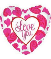 "18"" Love You Balloon Fluorescent Hearts"