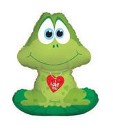 "11"" Airfill Only I Love You Frog Balloon on Lilly Pad"