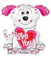 "22"" Love You Pink and White Doggie Shape Balloon"