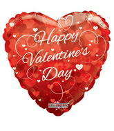 "18"" Happy Valentine's Day Balloon Hearts Clear View"