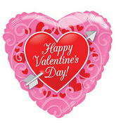 "18"" Happy Valentine&#39s Day Balloon Red Heart With Arrow"