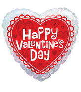 "18"" Happy Valentine's Day Balloon Heart Holographic"