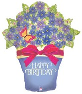 "33"" Foil Shape Balloon Packaged Birthday Potted Violets"