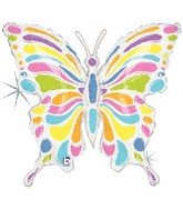 "33"" Holographic Pastel Butterfly Balloon"
