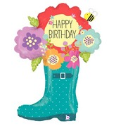 "37"" Foil Shape Balloon Packaged Birthday Rain Boot"