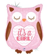 "26"" Holographic Balloon Packaged It's a Girl Baby Owl"