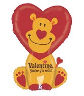 "32"" Foil Shape Balloon Grrreat Valentine Lion"